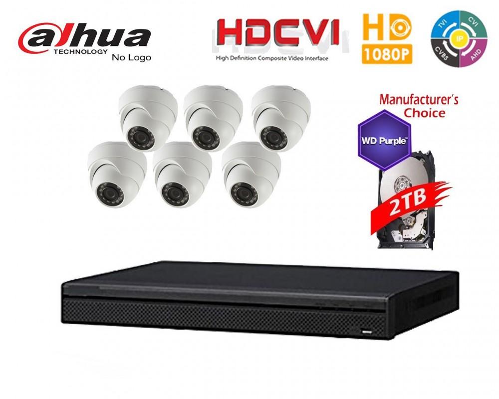 Dahua Penta-brid 1080P Security Package: 8CH XVR5108 w/2TB HDD+(6