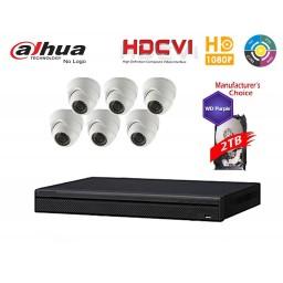 Dahua Penta-brid 1080P Security Package: 8CH XVR5108 w/2TB HDD+(6) 2MP Outdoor IR HDW1200M Eyeball